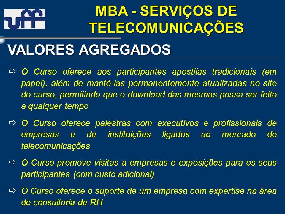 VALORES AGREGADOS MBA - SERVIÇOS DE TELECOMUNICAÇÕES O Curso oferece aos participantes apostilas tradicionais (em papel), além de mantê-las permanente