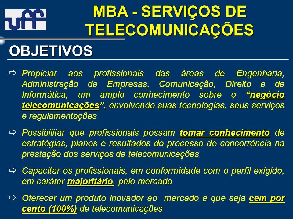 negócio telecomunicações, Propiciar aos profissionais das áreas de Engenharia, Administração de Empresas, Comunicação, Direito e de Informática, um am