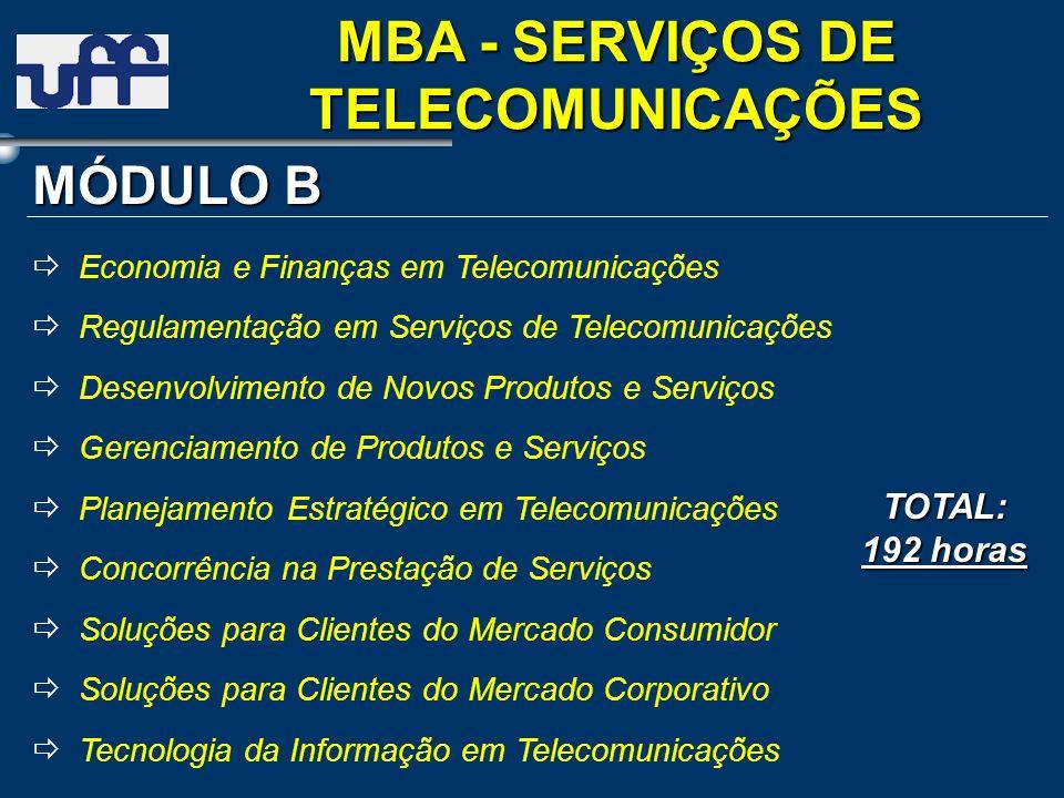 MÓDULO B TOTAL: 192 horas Economia e Finanças em Telecomunicações Regulamentação em Serviços de Telecomunicações Desenvolvimento de Novos Produtos e S