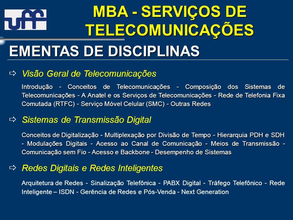 EMENTAS DE DISCIPLINAS Visão Geral de Telecomunicações Introdução - Conceitos de Telecomunicações - Composição dos Sistemas de Telecomunicações - A An