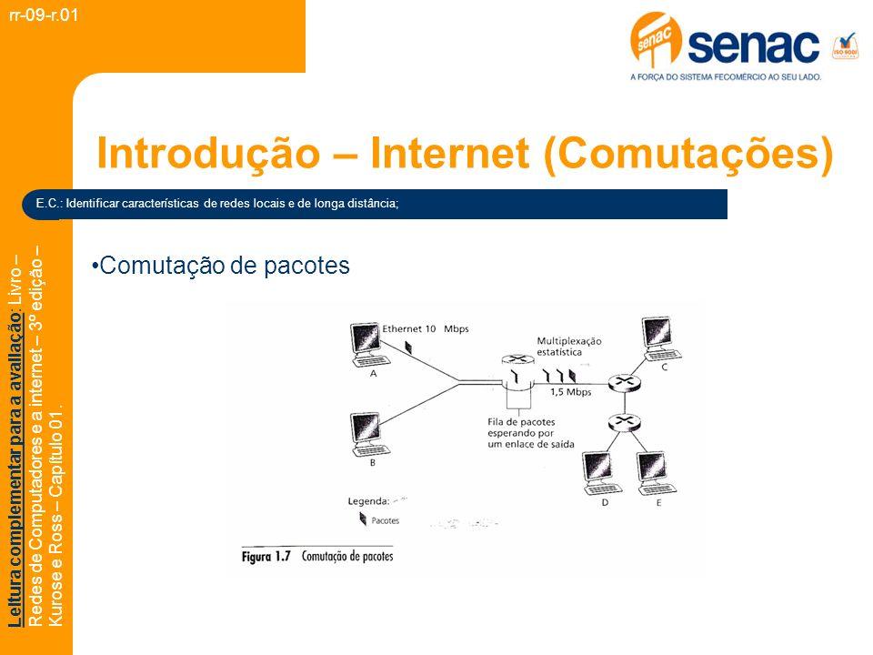 Introdução – Internet (Comutações) rr-09-r.01 Leitura complementar para a avaliação: Livro – Redes de Computadores e a internet – 3º edição – Kurose e Ross – Capítulo 01.
