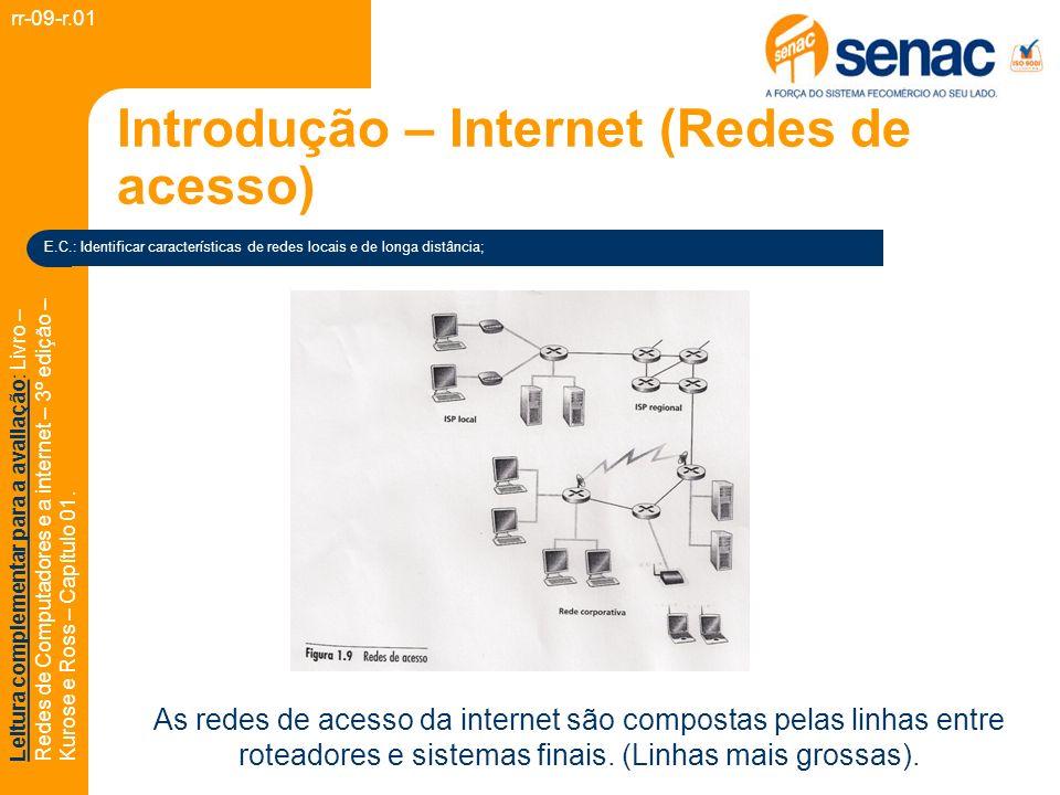 Introdução – Internet (Redes de acesso) rr-09-r.01 Leitura complementar para a avaliação: Livro – Redes de Computadores e a internet – 3º edição – Kurose e Ross – Capítulo 01.