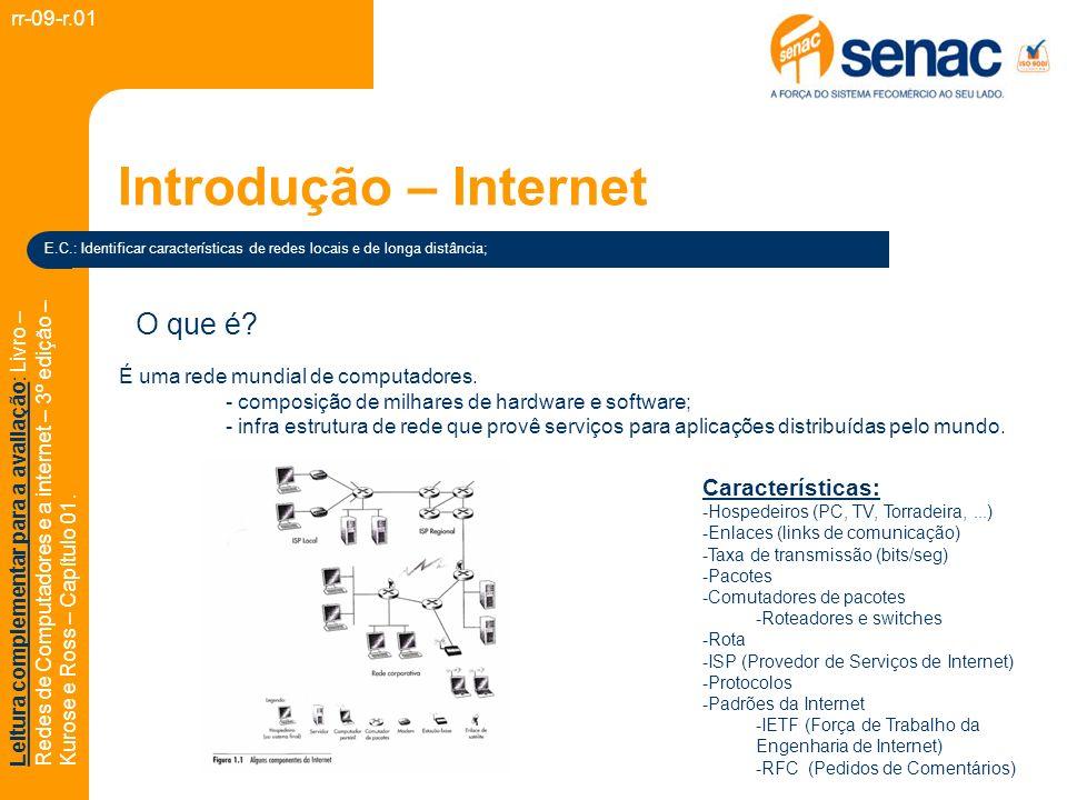 Introdução – Internet (Protocolo) rr-09-r.01 Leitura complementar para a avaliação: Livro – Redes de Computadores e a internet – 3º edição – Kurose e Ross – Capítulo 01.
