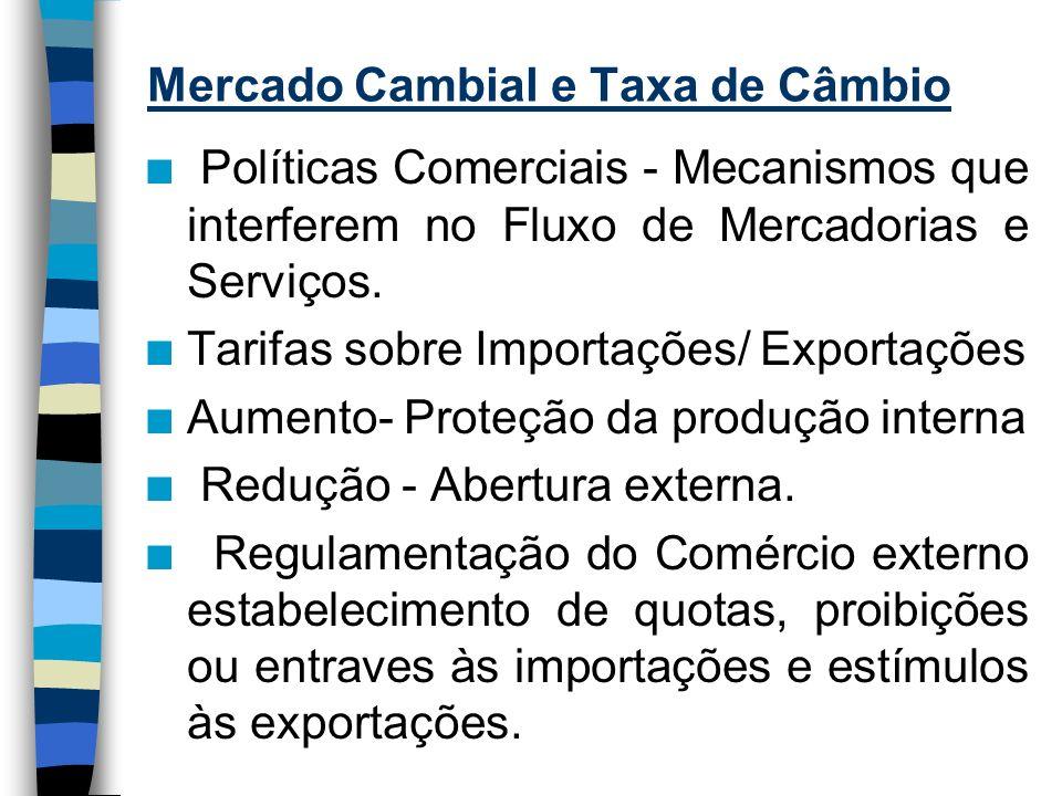 Mercado Cambial e Taxa de Câmbio n Política Cambial : alterações nas Taxas de Cambio.