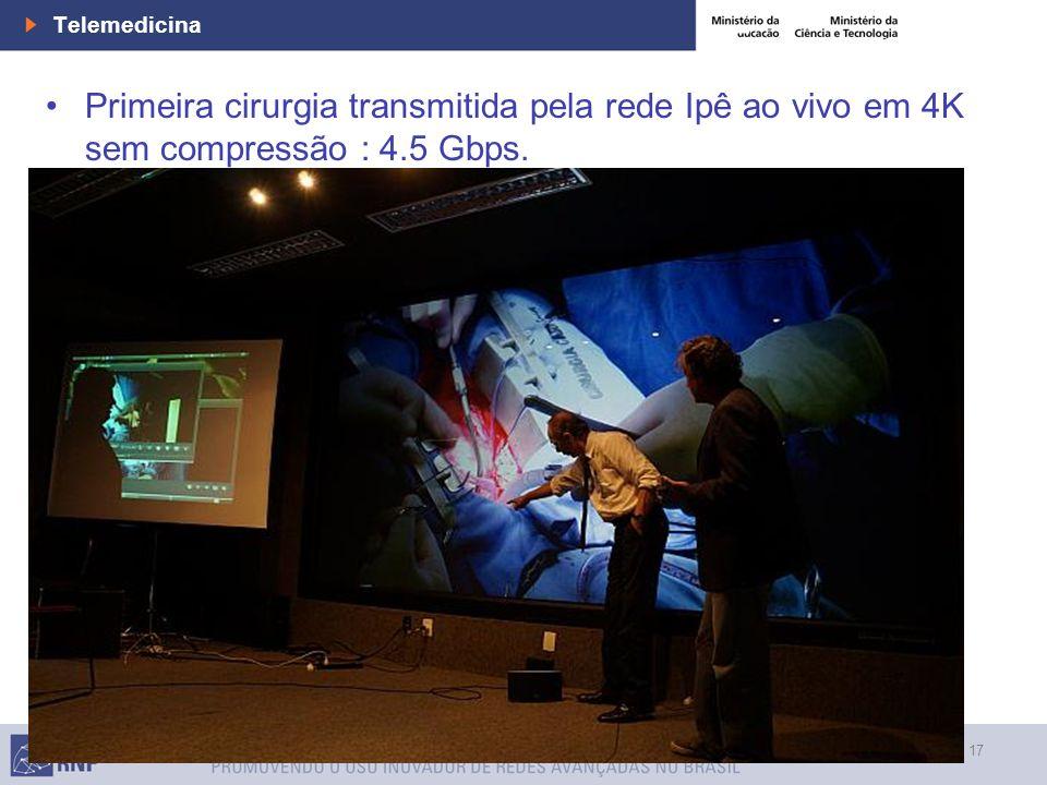 17 Telemedicine Telemedicina Primeira cirurgia transmitida pela rede Ipê ao vivo em 4K sem compressão : 4.5 Gbps.