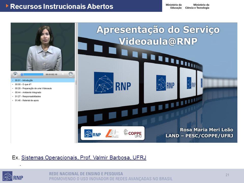 21 Recursos Instrucionais Abertos Ex. Sistemas Operacionais, Prof. Valmir Barbosa, UFRJSistemas Operacionais, Prof. Valmir Barbosa, UFRJ.