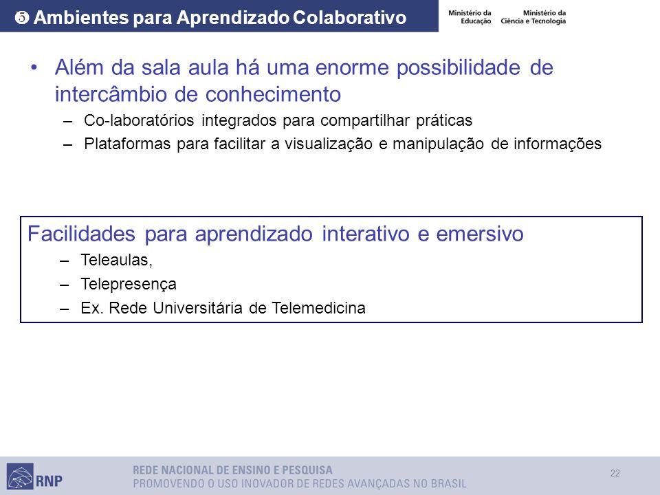 22 Ambientes para Aprendizado Colaborativo Além da sala aula há uma enorme possibilidade de intercâmbio de conhecimento –Co-laboratórios integrados pa