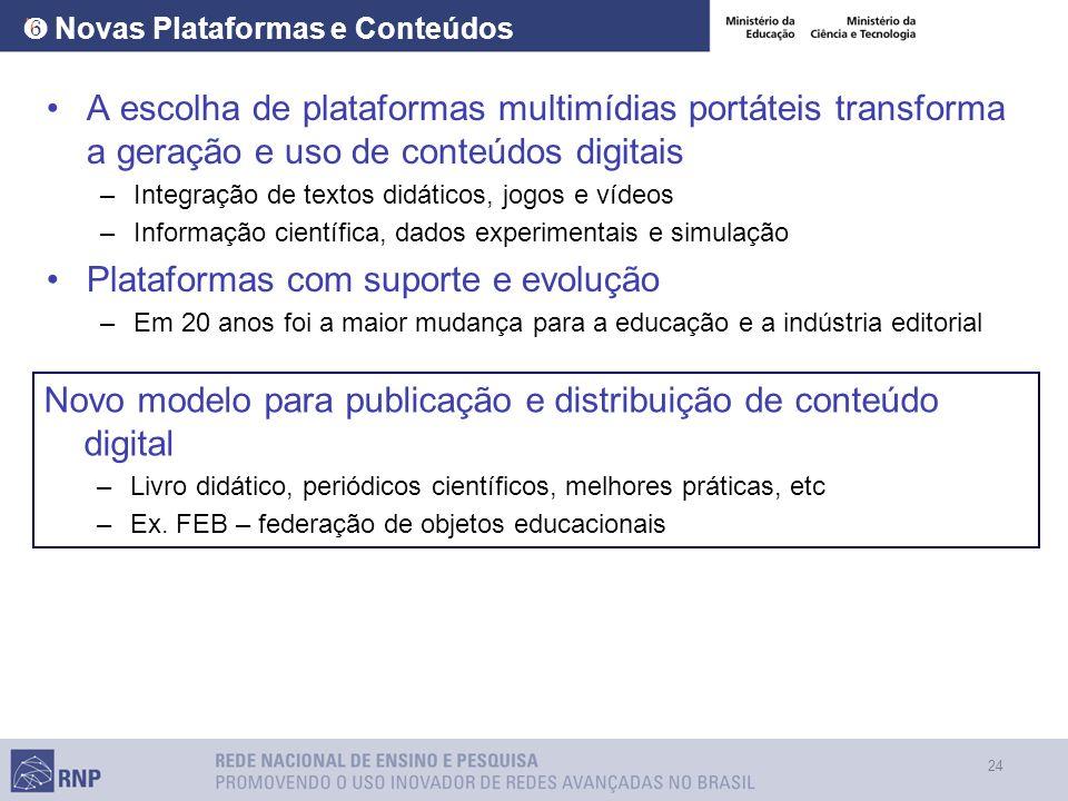24 Novas Plataformas e Conteúdos A escolha de plataformas multimídias portáteis transforma a geração e uso de conteúdos digitais –Integração de textos