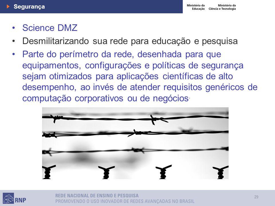 29 Segurança Science DMZ Desmilitarizando sua rede para educação e pesquisa Parte do perímetro da rede, desenhada para que equipamentos, configurações