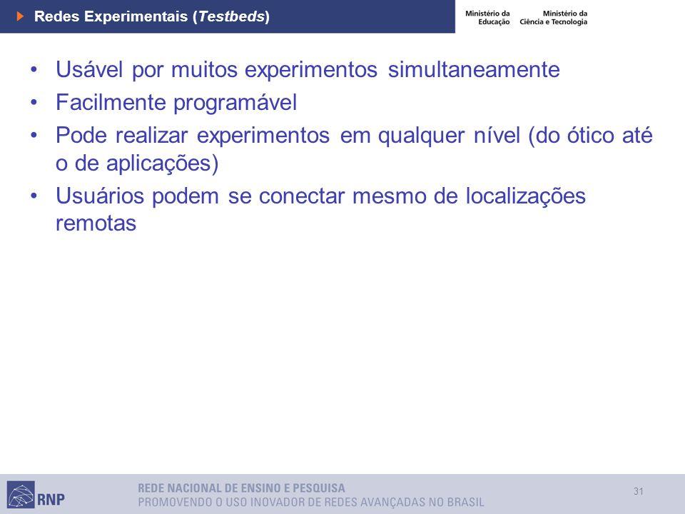 31 Redes Experimentais (Testbeds) Usável por muitos experimentos simultaneamente Facilmente programável Pode realizar experimentos em qualquer nível (