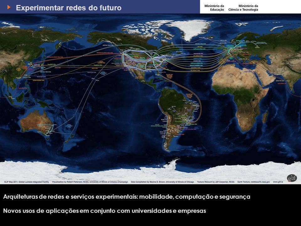 7 Experimentar redes do futuro Arquiteturas de redes e serviços experimentais: mobilidade, computação e segurança Novos usos de aplicações em conjunto