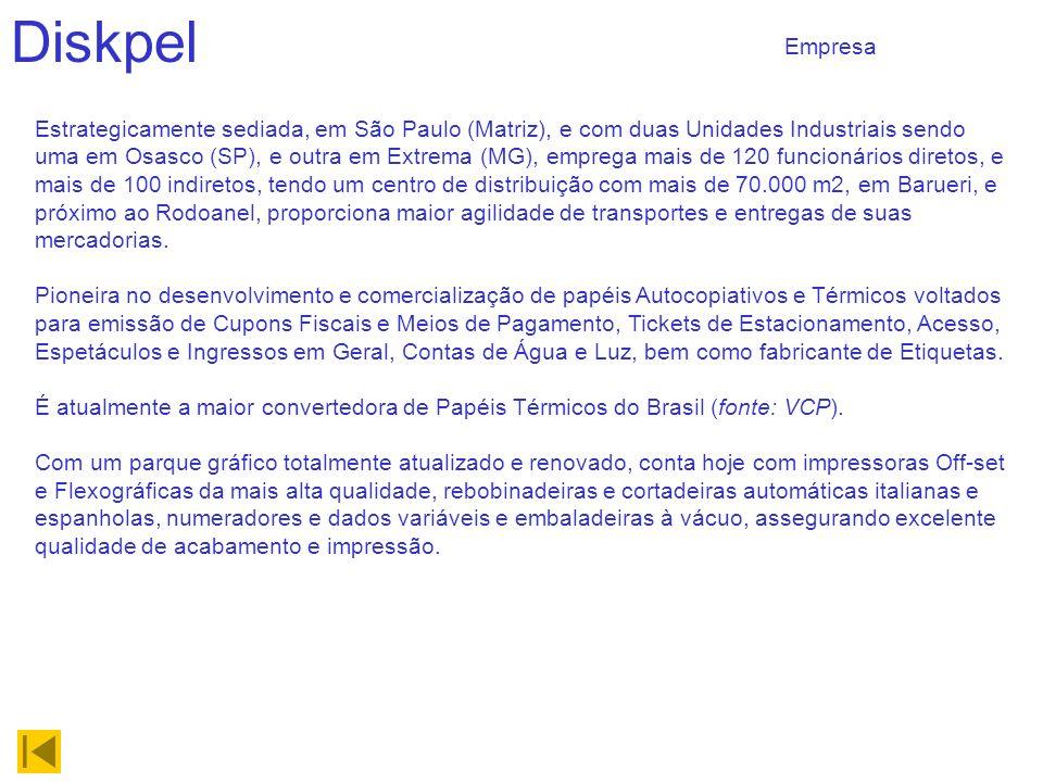 Diskpel Estrategicamente sediada, em São Paulo (Matriz), e com duas Unidades Industriais sendo uma em Osasco (SP), e outra em Extrema (MG), emprega mais de 120 funcionários diretos, e mais de 100 indiretos, tendo um centro de distribuição com mais de 70.000 m2, em Barueri, e próximo ao Rodoanel, proporciona maior agilidade de transportes e entregas de suas mercadorias.