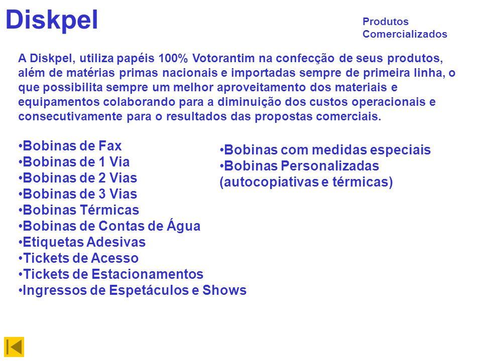 Diskpel Produtos Comercializados Bobinas de Fax Bobinas de 1 Via Bobinas de 2 Vias Bobinas de 3 Vias Bobinas Térmicas Bobinas de Contas de Água Etique