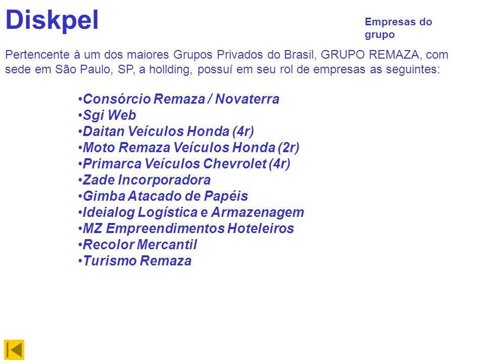 Diskpel Empresas do grupo Pertencente à um dos maiores Grupos Privados do Brasil, GRUPO REMAZA, com sede em São Paulo, SP, a hollding, possuí em seu rol de empresas as seguintes: Consórcio Remaza / Novaterra Sgi Web Daitan Veículos Honda (4r) Moto Remaza Veículos Honda (2r) Primarca Veículos Chevrolet (4r) Zade Incorporadora Gimba Atacado de Papéis Ideialog Logística e Armazenagem MZ Empreendimentos Hoteleiros Recolor Mercantil Turismo Remaza