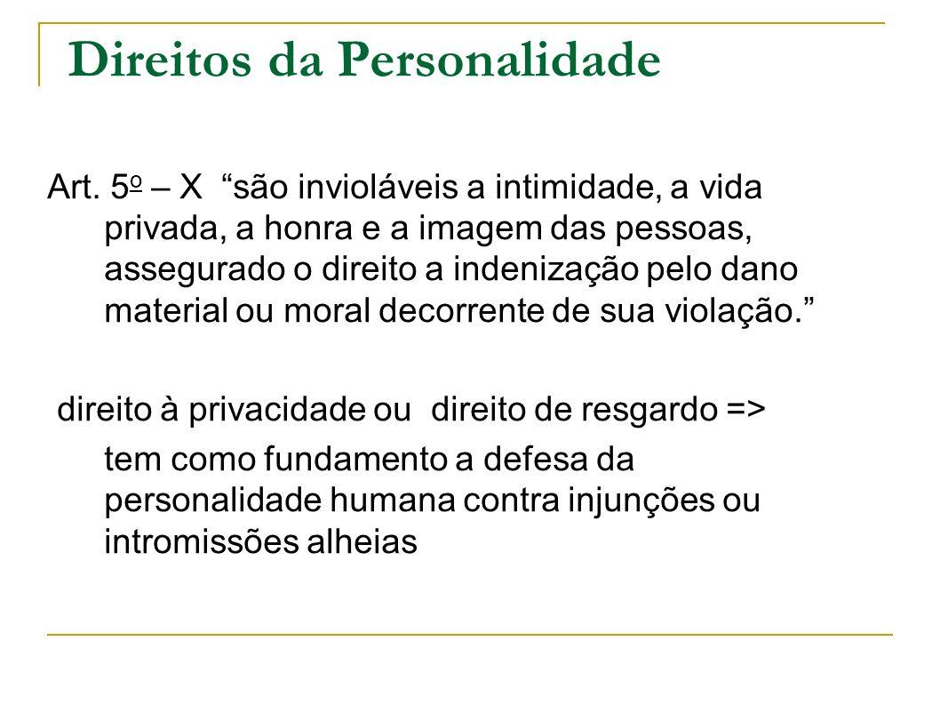 Direitos da Personalidade Art. 5 o – X são invioláveis a intimidade, a vida privada, a honra e a imagem das pessoas, assegurado o direito a indenizaçã