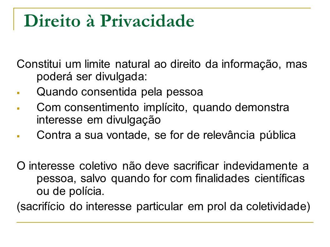 Direito à Privacidade Constitui um limite natural ao direito da informação, mas poderá ser divulgada: Quando consentida pela pessoa Com consentimento