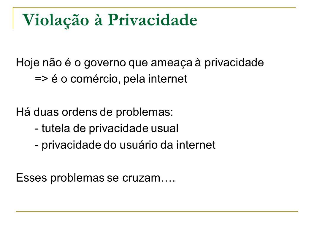 Violação à Privacidade Hoje não é o governo que ameaça à privacidade => é o comércio, pela internet Há duas ordens de problemas: - tutela de privacida