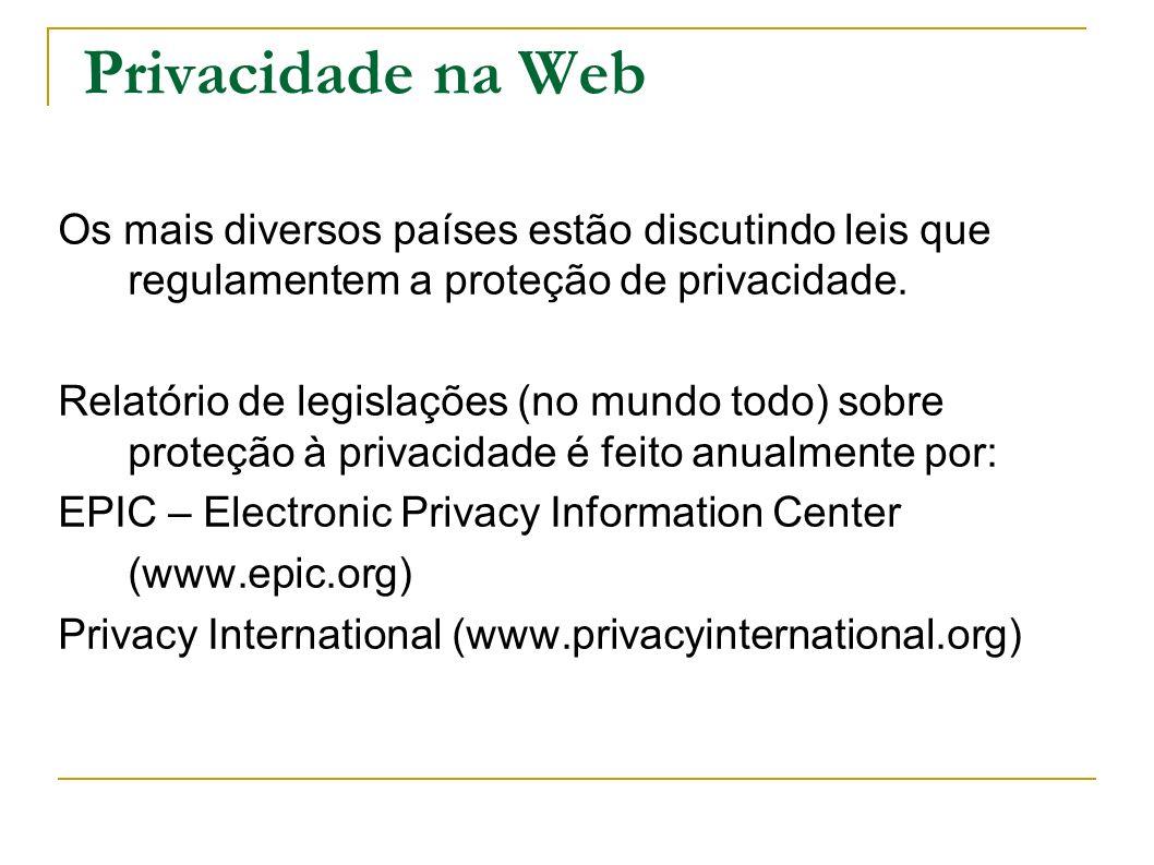 Privacidade na Web Os mais diversos países estão discutindo leis que regulamentem a proteção de privacidade. Relatório de legislações (no mundo todo)