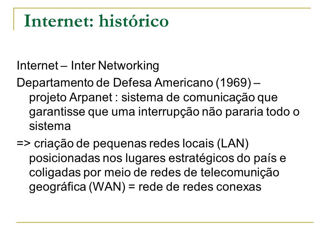 Internet: histórico Internet – Inter Networking Departamento de Defesa Americano (1969) – projeto Arpanet : sistema de comunicação que garantisse que