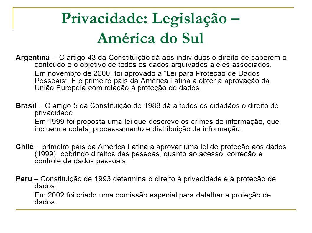 Privacidade: Legislação – América do Sul Argentina – O artigo 43 da Constituição dá aos indivíduos o direito de saberem o conteúdo e o objetivo de tod