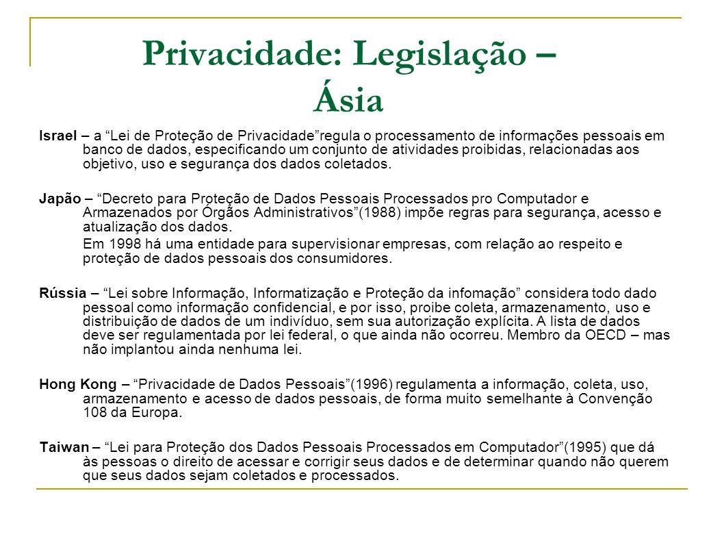 Privacidade: Legislação – Ásia Israel – a Lei de Proteção de Privacidaderegula o processamento de informações pessoais em banco de dados, especificand
