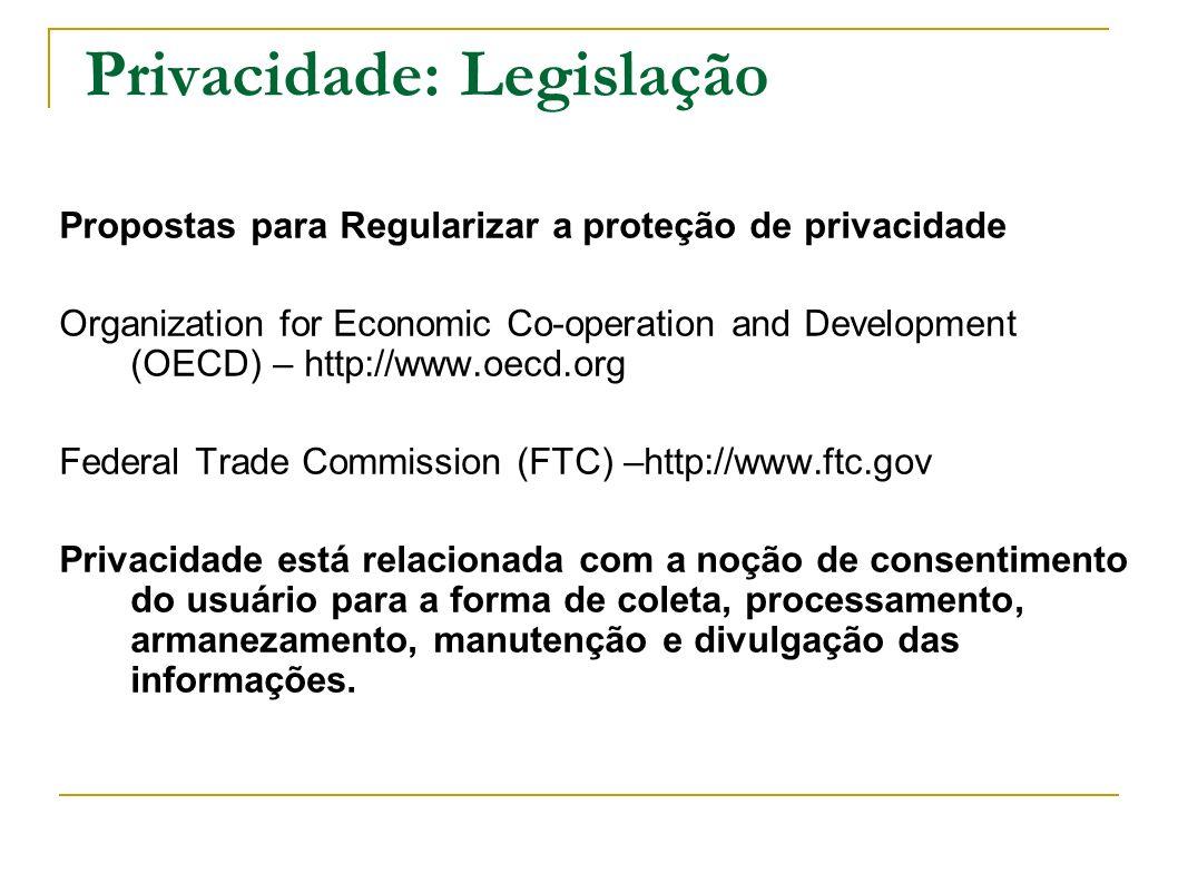 Privacidade: Legislação Propostas para Regularizar a proteção de privacidade Organization for Economic Co-operation and Development (OECD) – http://ww