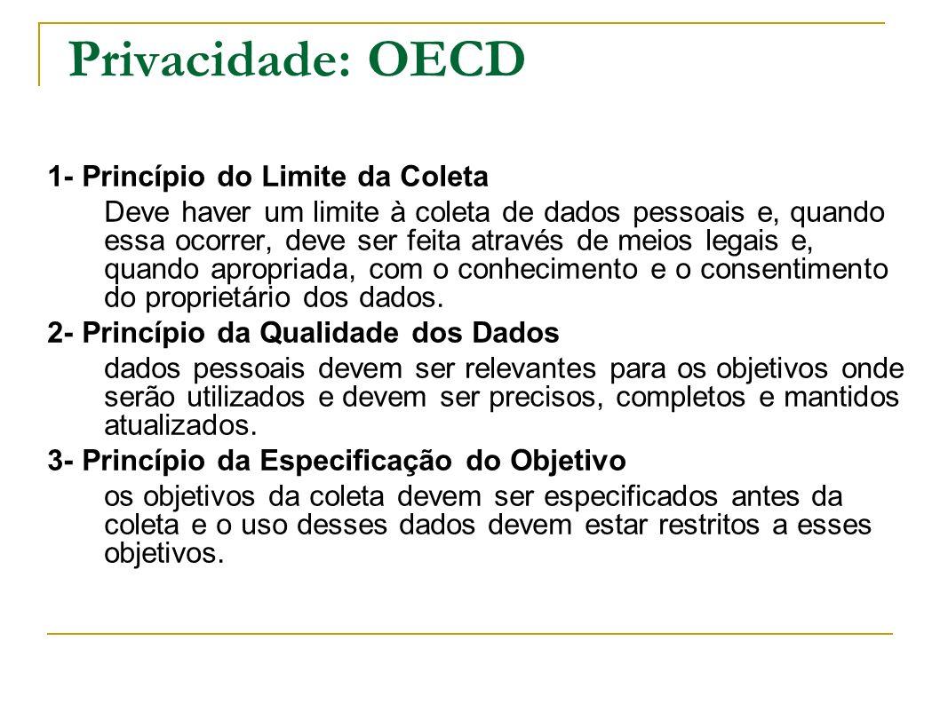 Privacidade: OECD 1- Princípio do Limite da Coleta Deve haver um limite à coleta de dados pessoais e, quando essa ocorrer, deve ser feita através de m