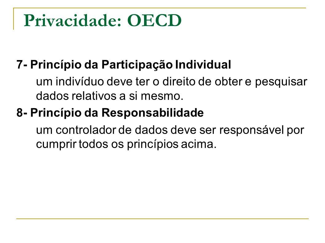 Privacidade: OECD 7- Princípio da Participação Individual um indivíduo deve ter o direito de obter e pesquisar dados relativos a si mesmo. 8- Princípi