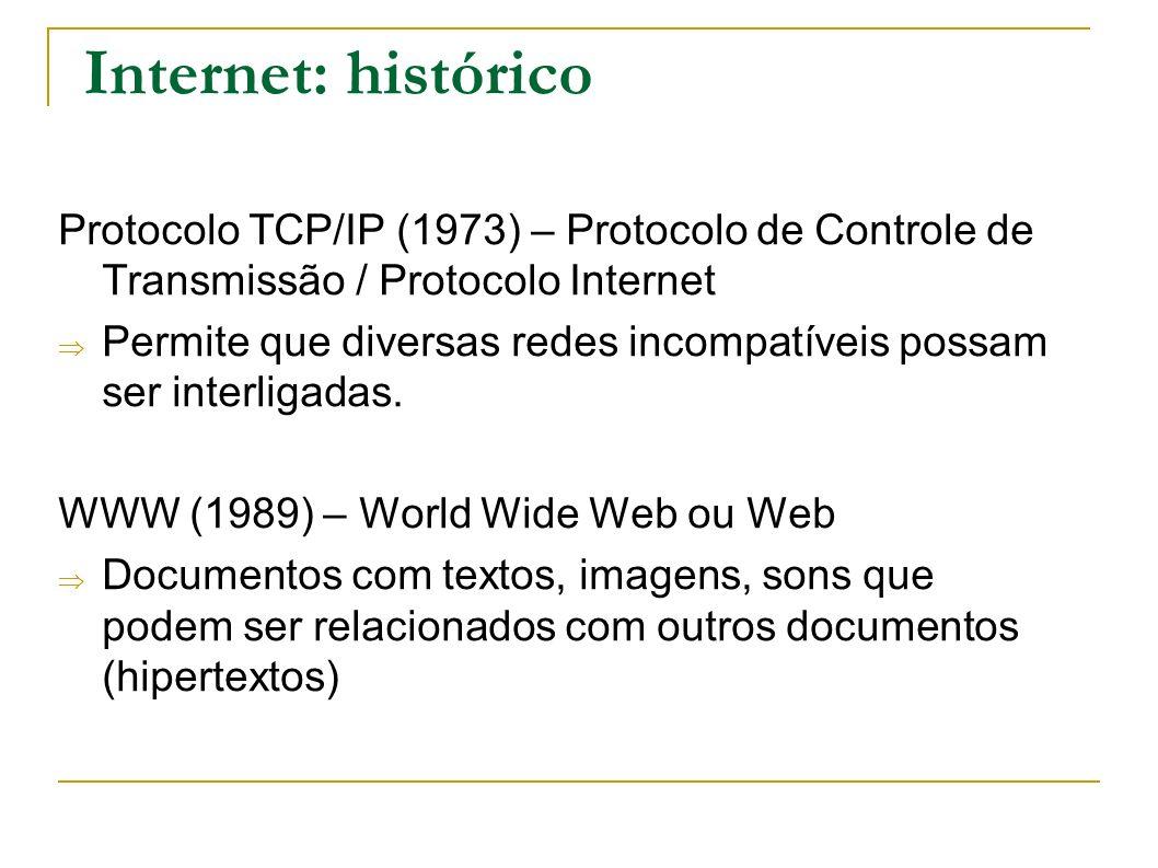Internet: histórico Protocolo TCP/IP (1973) – Protocolo de Controle de Transmissão / Protocolo Internet Permite que diversas redes incompatíveis possa