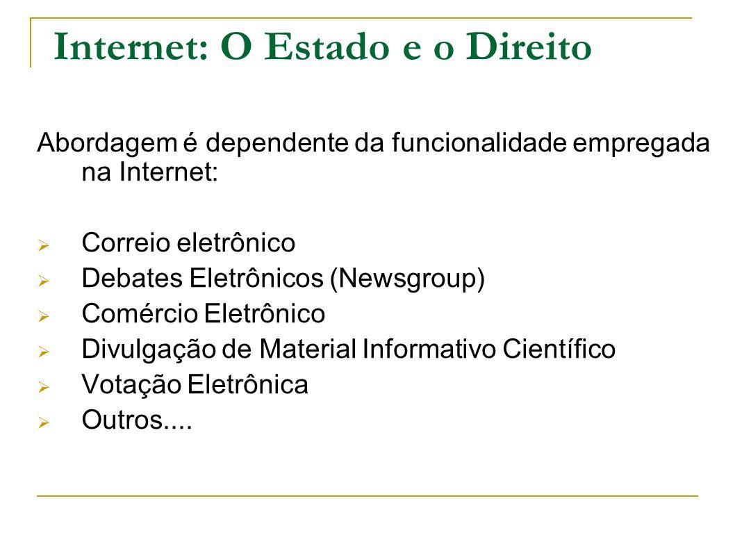 Internet: O Estado e o Direito Abordagem é dependente da funcionalidade empregada na Internet: Correio eletrônico Debates Eletrônicos (Newsgroup) Comé
