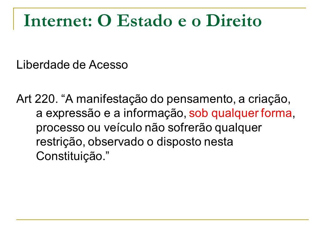 Internet: O Estado e o Direito Liberdade de Acesso Art 220. A manifestação do pensamento, a criação, a expressão e a informação, sob qualquer forma, p