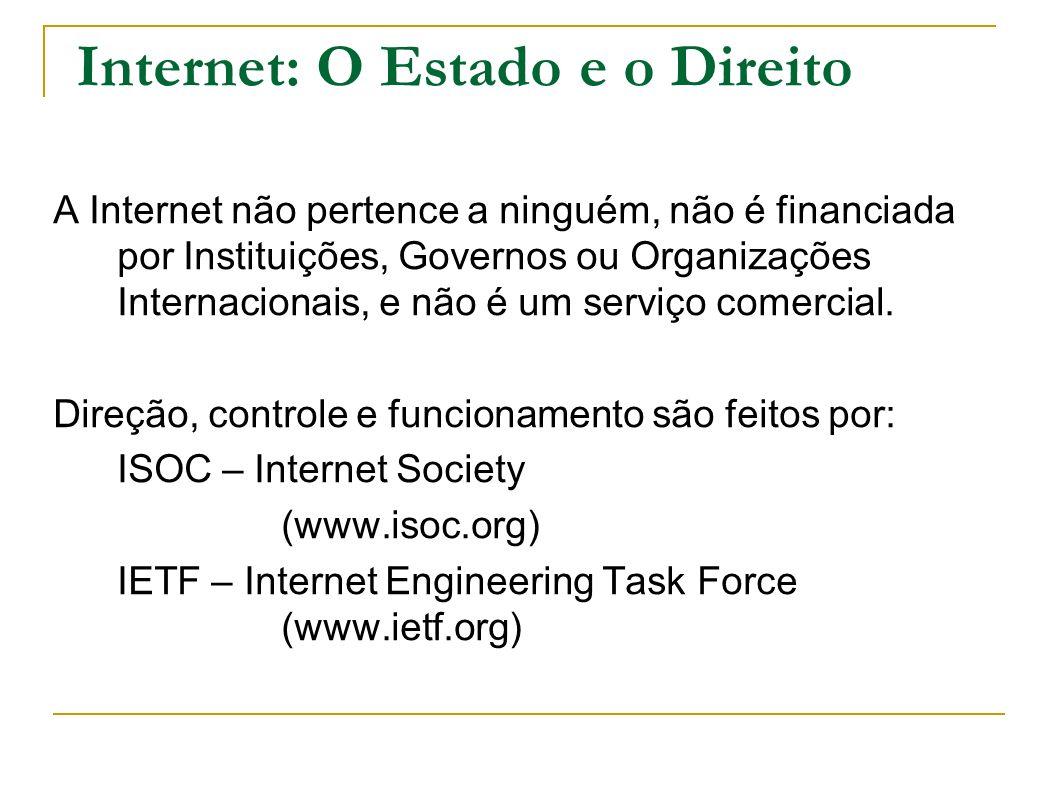 Internet: O Estado e o Direito A Internet não pertence a ninguém, não é financiada por Instituições, Governos ou Organizações Internacionais, e não é