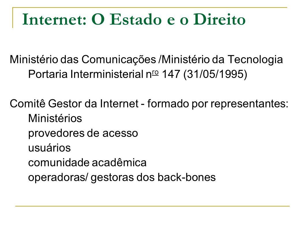 Internet: O Estado e o Direito Ministério das Comunicações /Ministério da Tecnologia Portaria Interministerial n ro 147 (31/05/1995) Comitê Gestor da