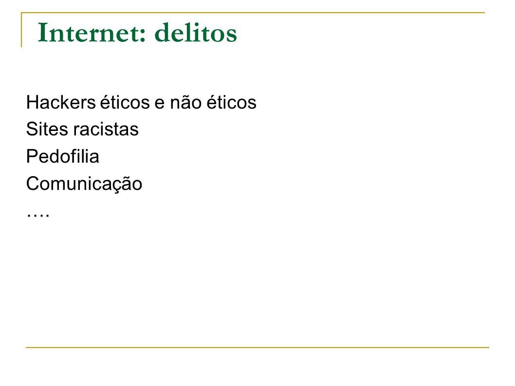 Internet: delitos Hackers éticos e não éticos Sites racistas Pedofilia Comunicação ….