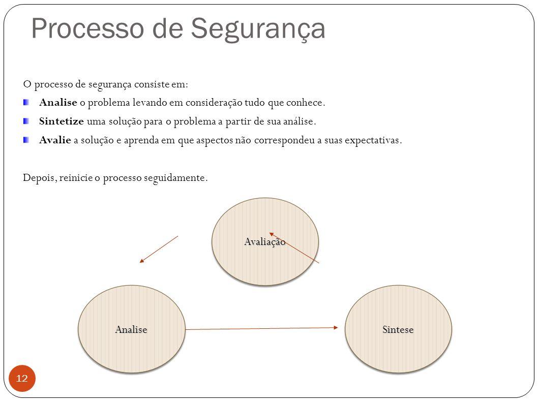 Processo de Segurança 12 O processo de segurança consiste em: Analise o problema levando em consideração tudo que conhece. Sintetize uma solução para