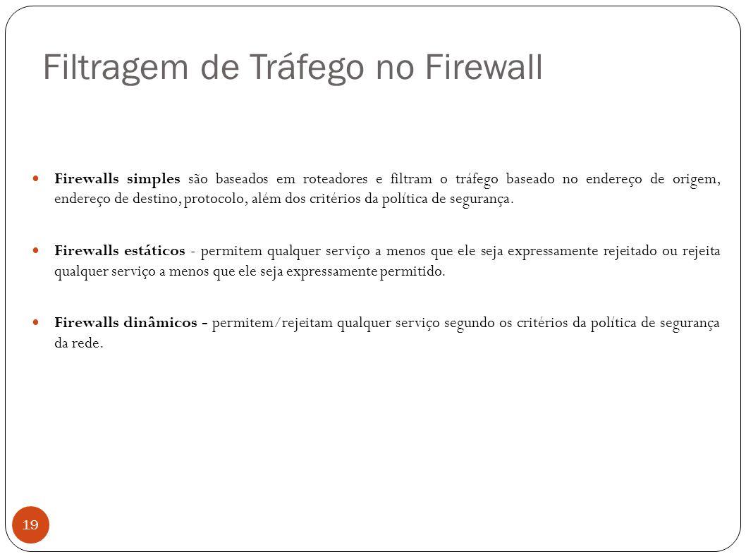 Filtragem de Tráfego no Firewall 19 Firewalls simples são baseados em roteadores e filtram o tráfego baseado no endereço de origem, endereço de destin