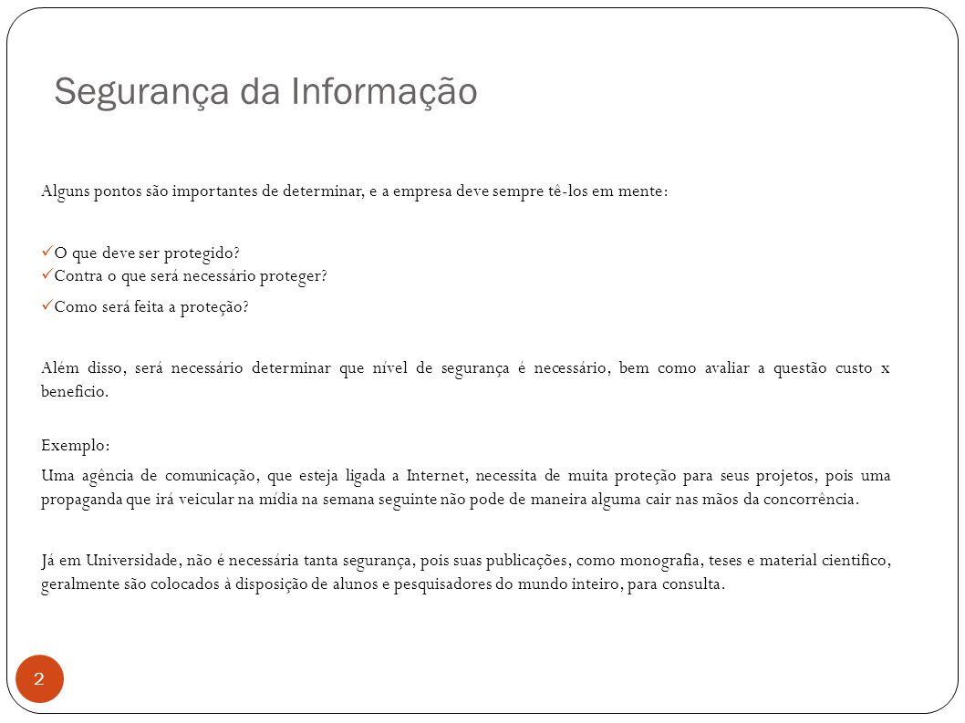 Segurança da Informação 2 Alguns pontos são importantes de determinar, e a empresa deve sempre tê-los em mente: O que deve ser protegido? Contra o que