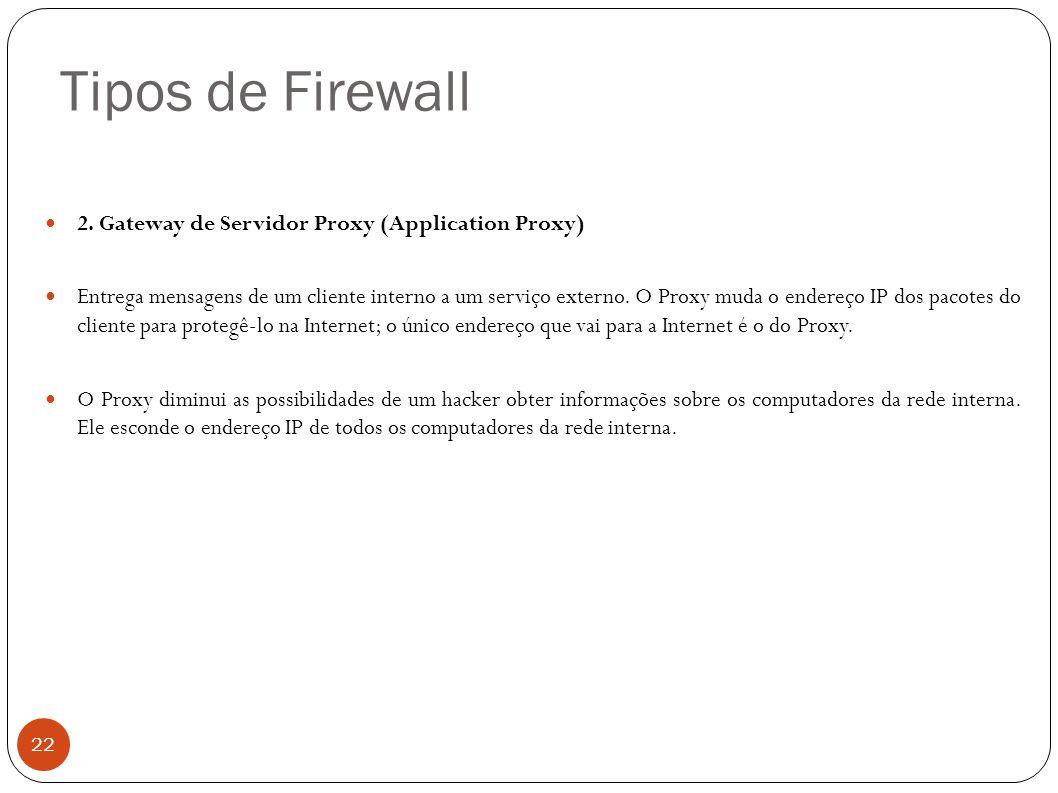 Tipos de Firewall 22 2. Gateway de Servidor Proxy (Application Proxy) Entrega mensagens de um cliente interno a um serviço externo. O Proxy muda o end