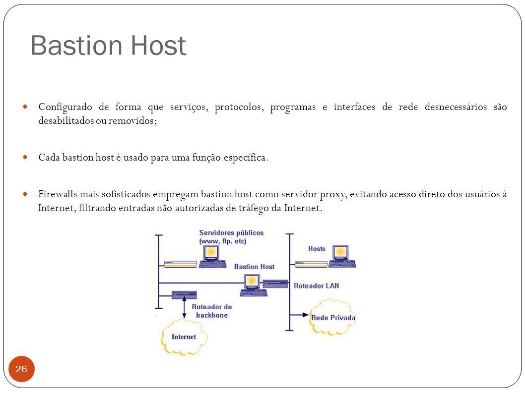 Bastion Host 26 Configurado de forma que serviços, protocolos, programas e interfaces de rede desnecessários são desabilitados ou removidos; Cada bast