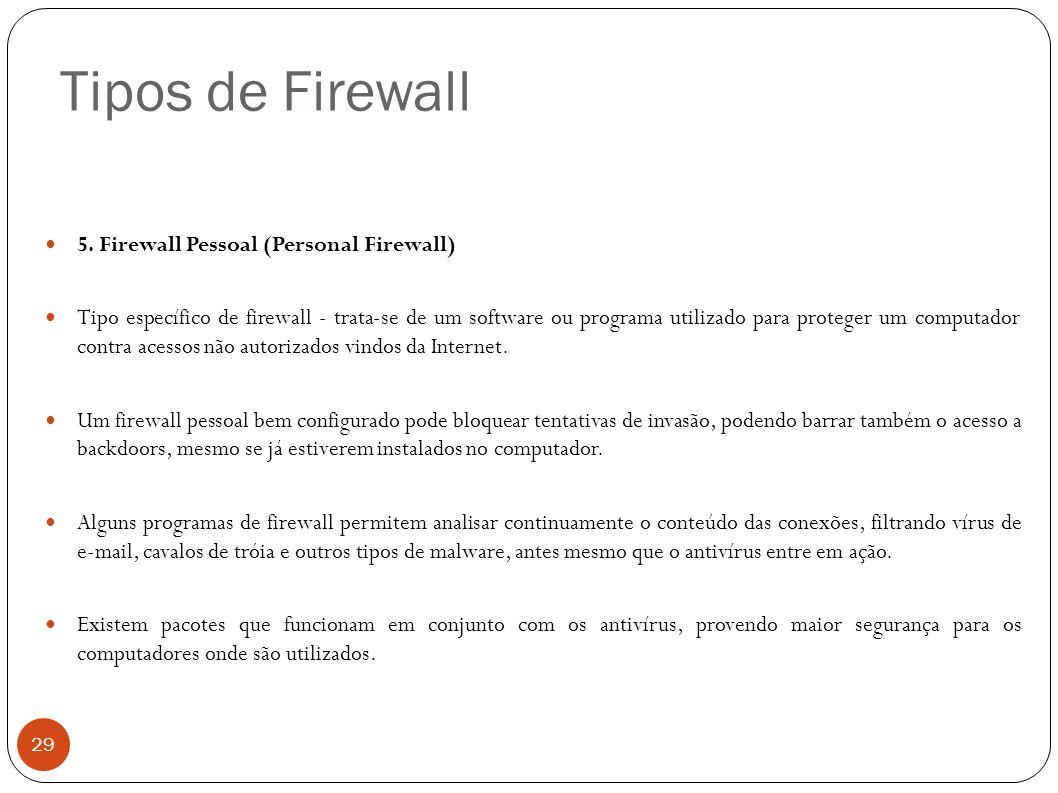 Tipos de Firewall 29 5. Firewall Pessoal (Personal Firewall) Tipo específico de firewall - trata-se de um software ou programa utilizado para proteger