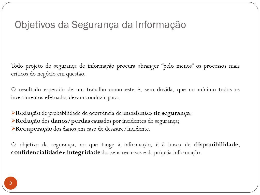Objetivos da Segurança da Informação 3 Todo projeto de segurança de informação procura abranger pelo menos os processos mais críticos do negócio em qu