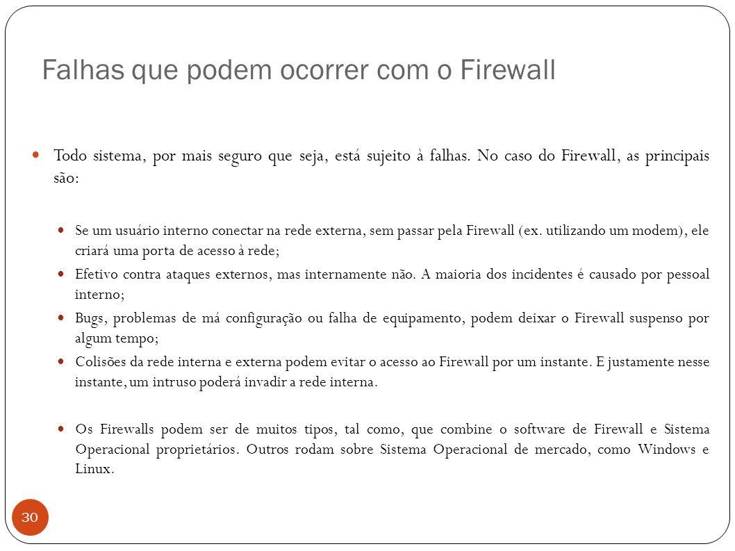 Falhas que podem ocorrer com o Firewall 30 Todo sistema, por mais seguro que seja, está sujeito à falhas. No caso do Firewall, as principais são: Se u