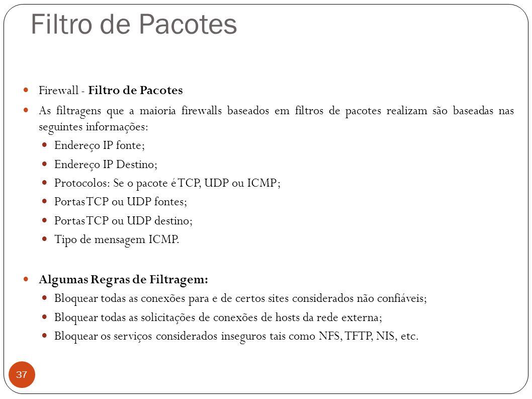 Filtro de Pacotes 37 Firewall - Filtro de Pacotes As filtragens que a maioria firewalls baseados em filtros de pacotes realizam são baseadas nas segui