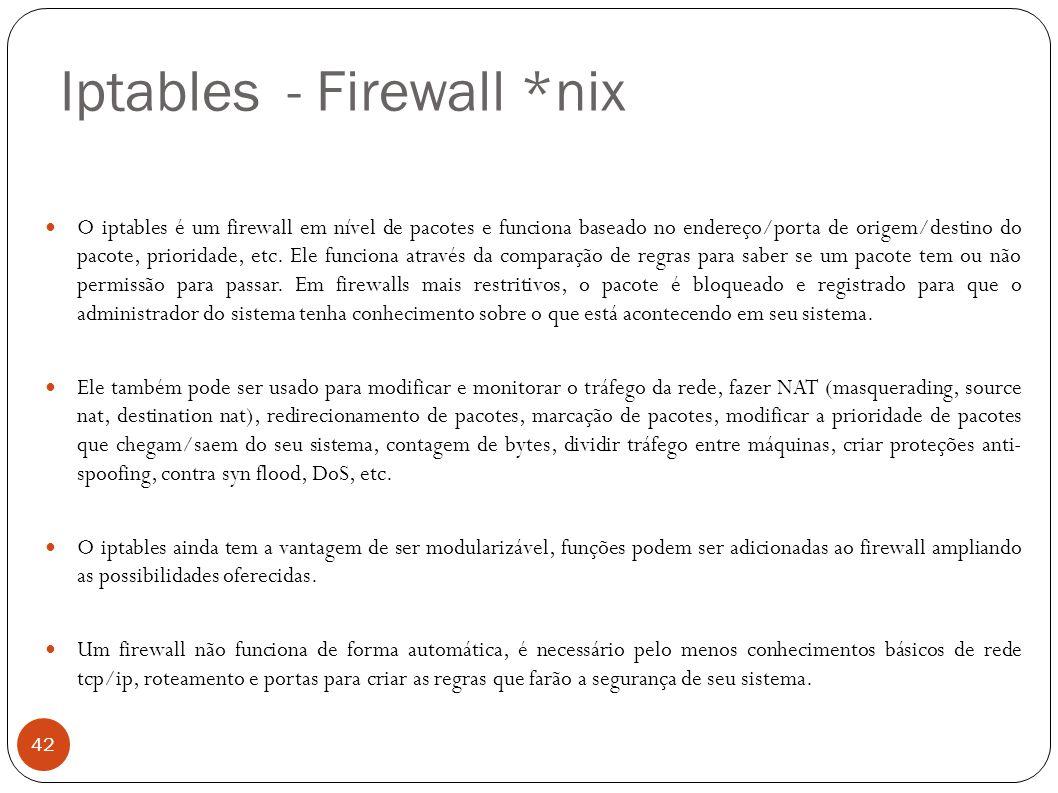 Iptables - Firewall *nix 42 O iptables é um firewall em nível de pacotes e funciona baseado no endereço/porta de origem/destino do pacote, prioridade,