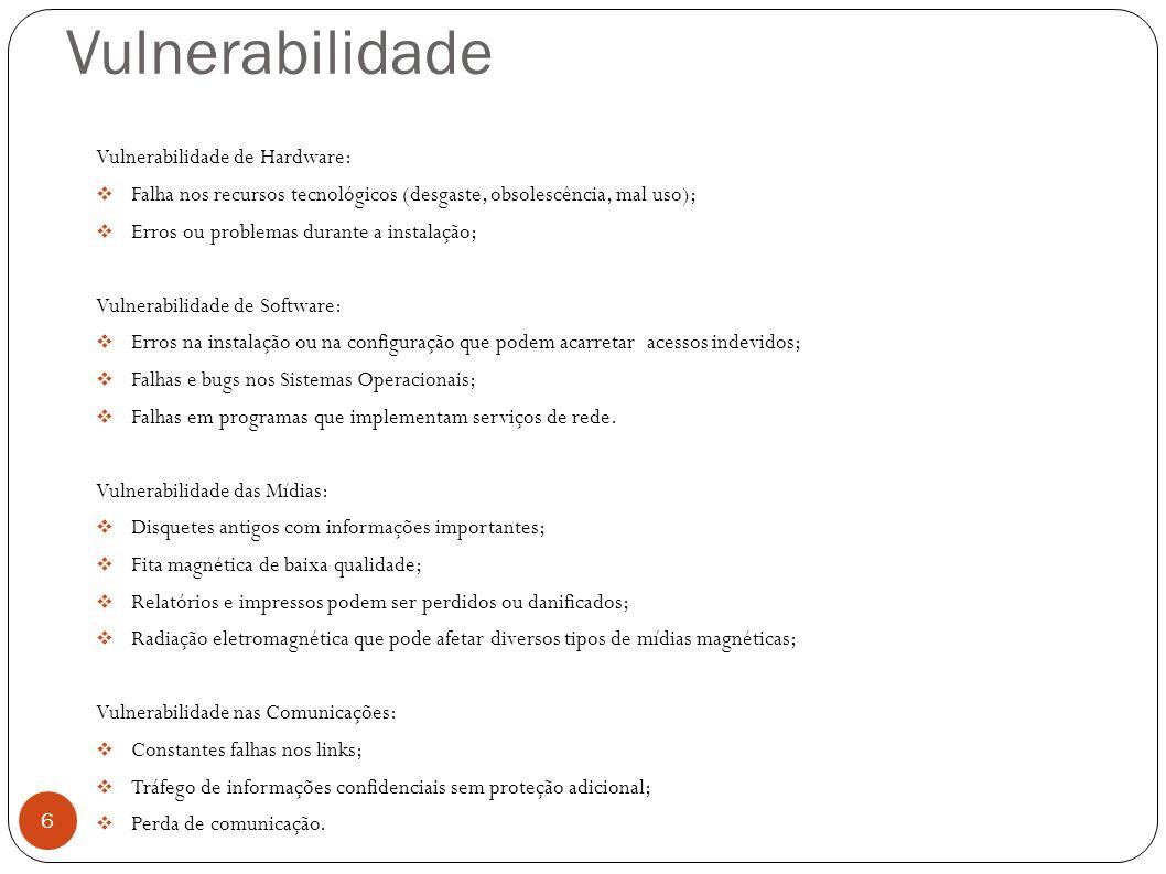 Vulnerabilidade 6 Vulnerabilidade de Hardware: Falha nos recursos tecnológicos (desgaste, obsolescência, mal uso); Erros ou problemas durante a instal