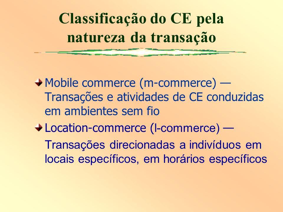 Mobile commerce (m-commerce) Transações e atividades de CE conduzidas em ambientes sem fio Location-commerce ( l-commerce) Transações direcionadas a indivíduos em locais específicos, em horários específicos Classificação do CE pela natureza da transação
