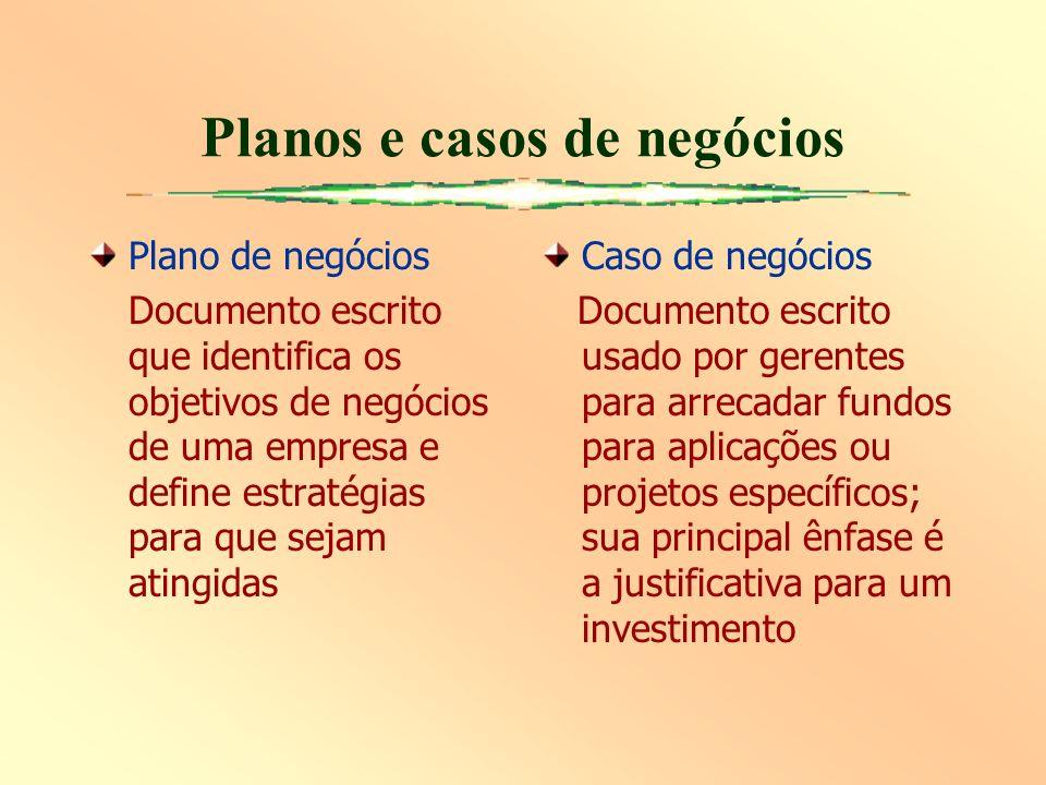 Planos e casos de negócios Plano de negócios Documento escrito que identifica os objetivos de negócios de uma empresa e define estratégias para que se