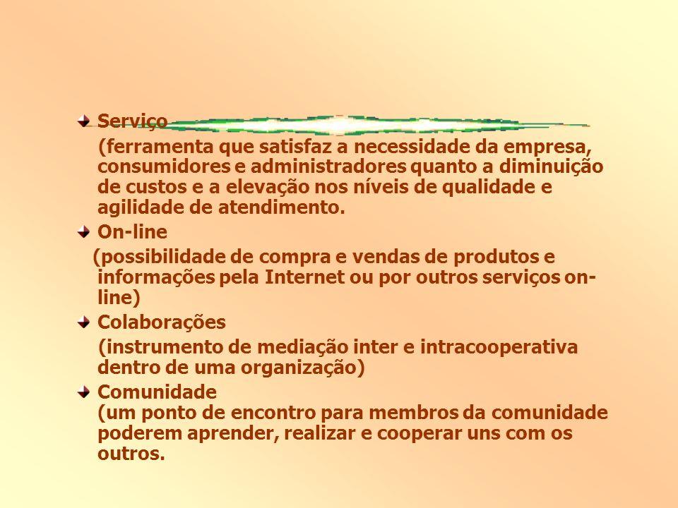 Serviço (ferramenta que satisfaz a necessidade da empresa, consumidores e administradores quanto a diminuição de custos e a elevação nos níveis de qualidade e agilidade de atendimento.