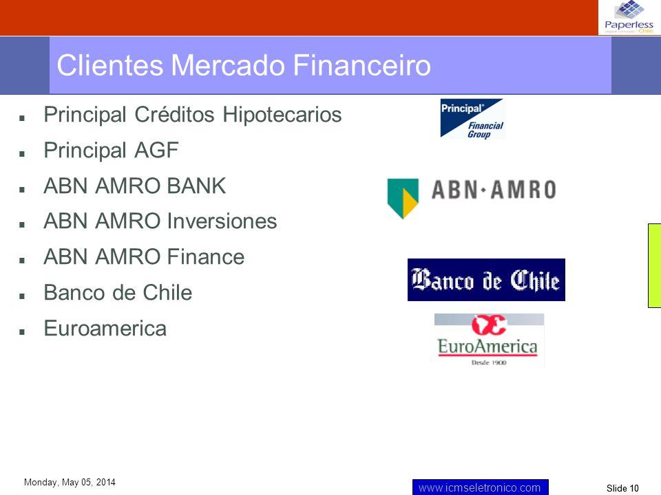 Slide 10 www.icmseletronico.com Monday, May 05, 2014 n Principal Créditos Hipotecarios n Principal AGF n ABN AMRO BANK n ABN AMRO Inversiones n ABN AM