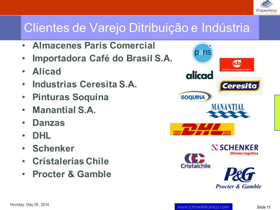 Slide 11 www.icmseletronico.com Monday, May 05, 2014 Almacenes Paris Comercial Importadora Café do Brasil S.A. Alicad Industrias Ceresita S.A. Pintura
